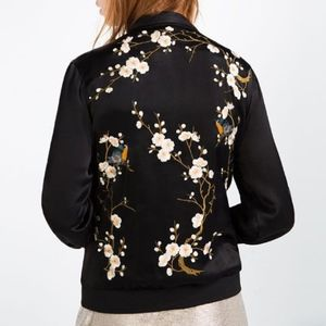 ZARA Bomber Jacket Cherry Blossom Embroidered Bird